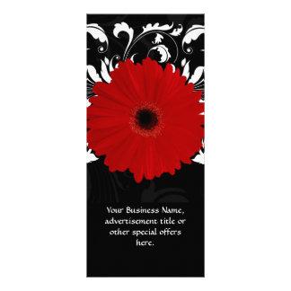 Margarita roja brillante del Gerbera en negro Tarjeta Publicitaria