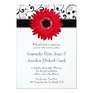 Margarita roja del Gerbera con el boda negro del Invitación 12,7 X 17,8 Cm