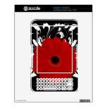 Margarita roja del Gerbera en negro Calcomanías Para El Kindle