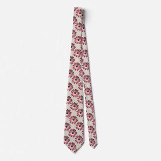 Margarita roja en la impresión de cuero de piedra corbatas personalizadas