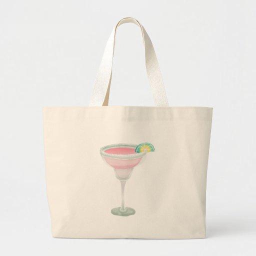 Margarita rosada bolsa tela grande