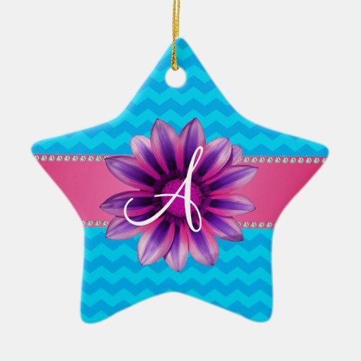 Margarita rosada de los galones azules del adorno navideño de cerámica en forma de estrella