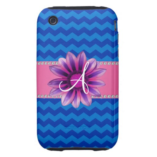Margarita rosada de los galones azules del monogra iPhone 3 tough cobertura