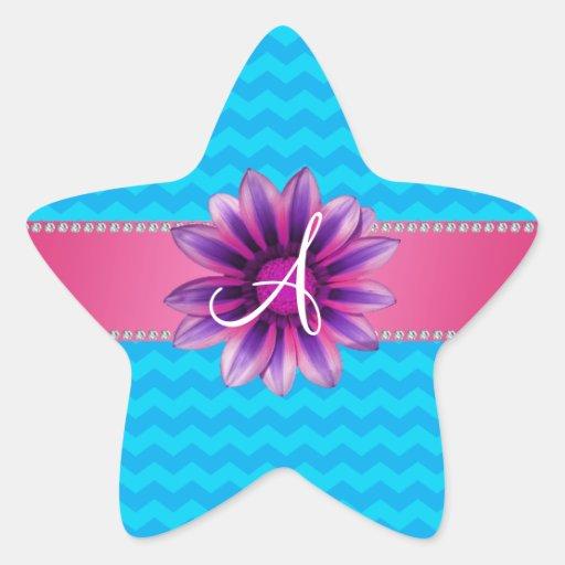 Margarita rosada de los galones azules del monogra calcomanía forma de estrellae
