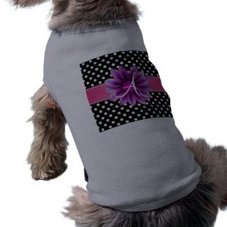 Margarita rosada de los lunares blancos negros del camiseta sin mangas para perro
