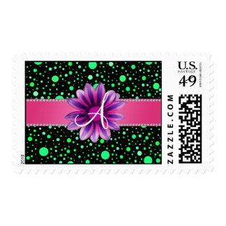 Margarita rosada de los lunares verdes negros del sello