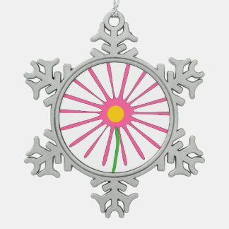 Margarita rosada del dibujo animado de Starburst Adorno De Peltre En Forma De Copo De Nieve
