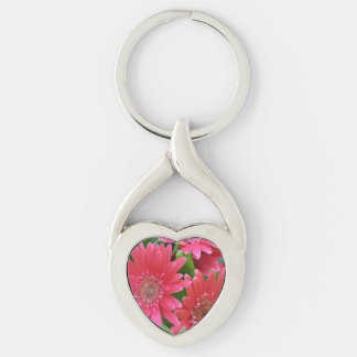 Margarita rosada del Gerbera Llavero Plateado En Forma De Corazón