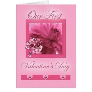 Margarita rosada del primer el día de San Valentín Tarjeta De Felicitación