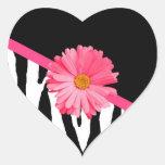 Margarita rosada femenina del modelo de la cebra calcomanía corazón personalizadas