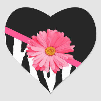 Margarita rosada femenina del modelo de la cebra pegatina en forma de corazón