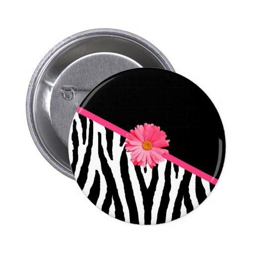 Margarita rosada femenina del modelo de la cebra pin