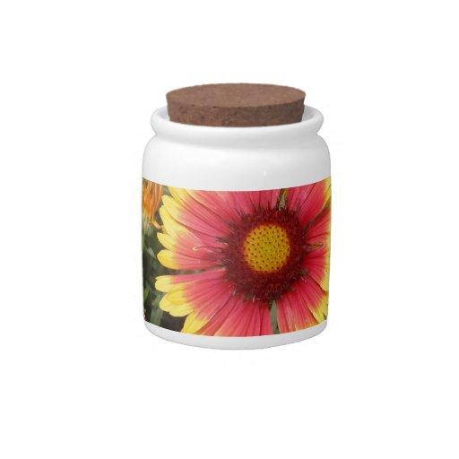 Margarita rosada y amarilla tarro de cerámica para dulces