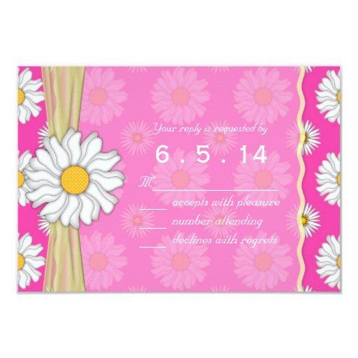 """Margarita rosada y blanca brillante RSVP floral Invitación 3.5"""" X 5"""""""