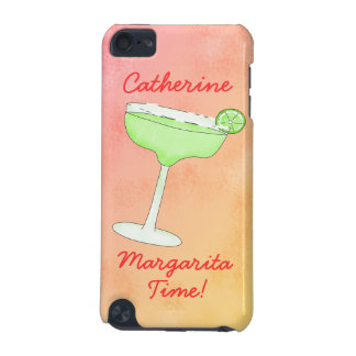 """Margarita Time"""" and Name Peach Yellow Background iPod Touch (5th Generation) Case"""
