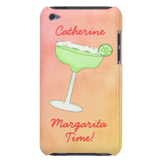 """Margarita Time"""" and Name Peach Yellow Background iPod Touch Case"""