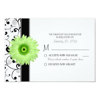 Margarita verde del Gerbera con el diseño negro Invitación 8,9 X 12,7 Cm