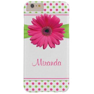 Margarita verde rosada del Gerbera del lunar Funda Barely There iPhone 6 Plus