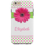 Margarita verde rosada del Gerbera del lunar Funda Para iPhone 6 Plus Tough