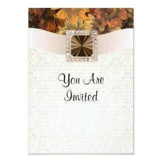Margarita y damasco florales marrones bonitos del comunicado personal