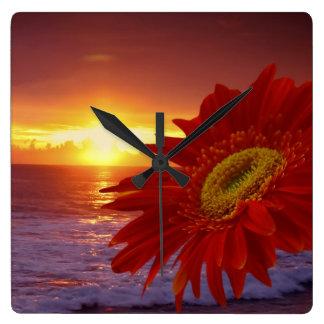 Margarita y puesta del sol de Gerber Reloj Cuadrado