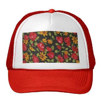 Margaritas amarillas de los rosas rojos gorra