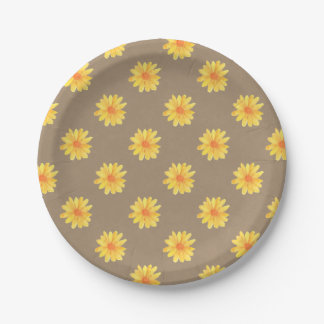 Margaritas amarillas en el falso papel de Kraft Plato De Papel 17,78 Cm
