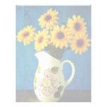 Margaritas amarillas en flores del jarro plantilla de membrete