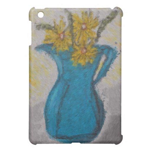 Margaritas amarillas en una caja azul del iPad del