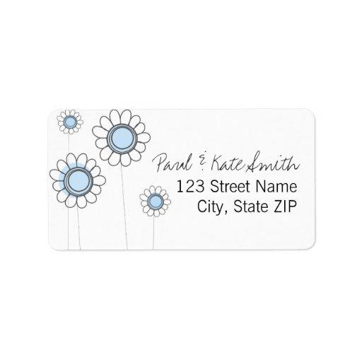 Margaritas azules caprichosas etiquetas de dirección