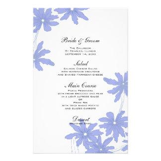 Margaritas azules del bígaro que casan el menú papelería de diseño