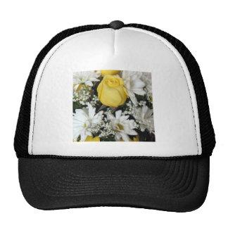 Margaritas blancas del rosa amarillo gorros bordados