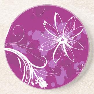 Margaritas blancas en púrpura posavasos personalizados