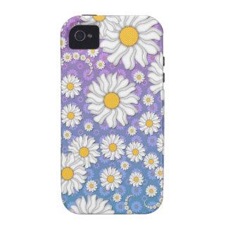Margaritas blancas lindas en fondo púrpura azul iPhone 4/4S carcasa
