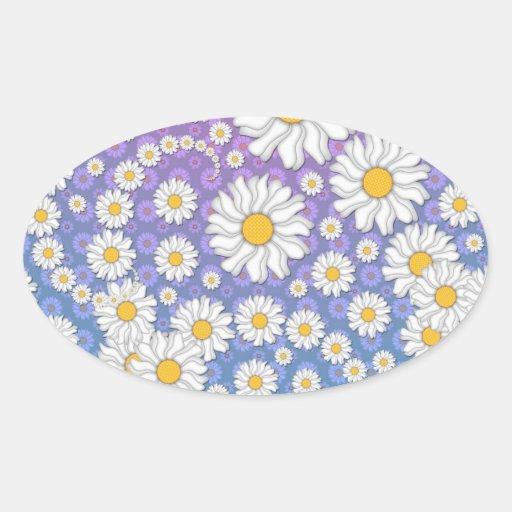 Margaritas blancas lindas en fondo púrpura azul pegatina ovalada
