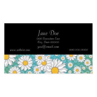 Margaritas blancas lindas en verde azul tarjetas de visita