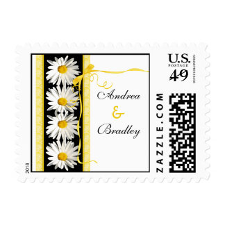 Margaritas blancas negras amarillas que casan timbre postal