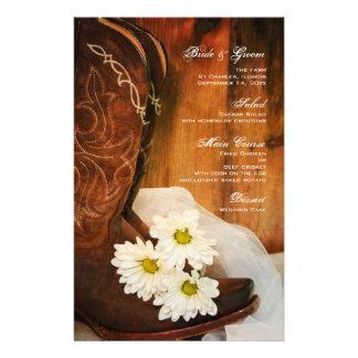 Margaritas blancas y menú del boda del país de las papeleria personalizada