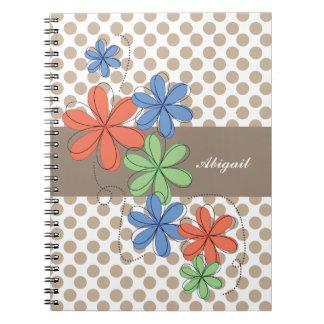 Margaritas coloridas, lunares marrones, cuadernos