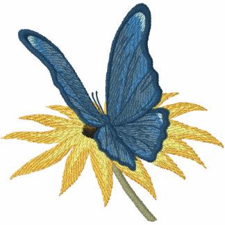 Margaritas de la mariposa chamarra de deporte bordada con capucha