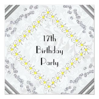 """Margaritas de la primavera, damasco y cumpleaños invitación 5.25"""" x 5.25"""""""