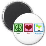 Margaritas del amor de la paz imán redondo 5 cm
