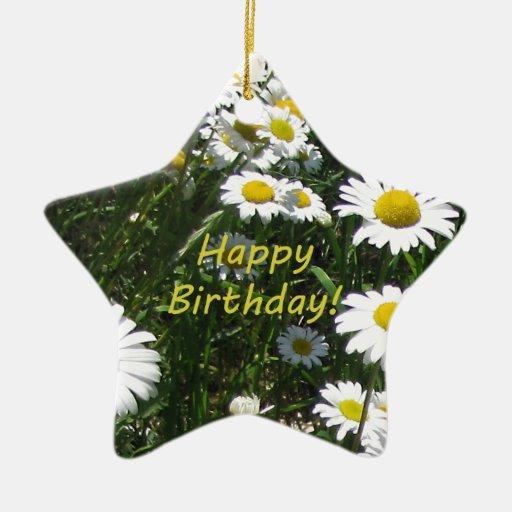 Margaritas del feliz cumpleaños adorno navideño de cerámica en forma de estrella
