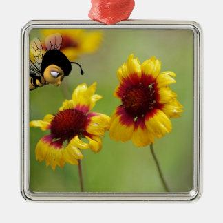 Margaritas del Mt. Shasta y abeja de Nonzomb Adorno Navideño Cuadrado De Metal