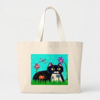 Margaritas divertidas Creationarts del gato negro Bolsa Tela Grande