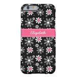 Margaritas femeninas rosadas y negras lindas de la funda barely there iPhone 6