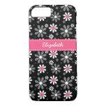 Margaritas femeninas rosadas y negras lindas de la funda iPhone 7
