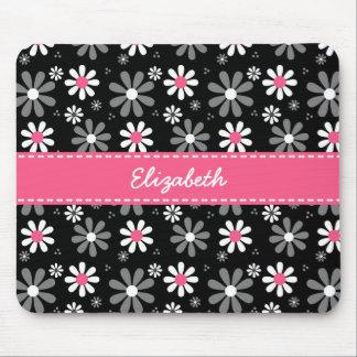 Margaritas femeninas rosadas y negras lindas de la mousepads