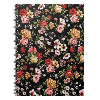 Margaritas florales de los años 50 retros del Rock Libro De Apuntes Con Espiral