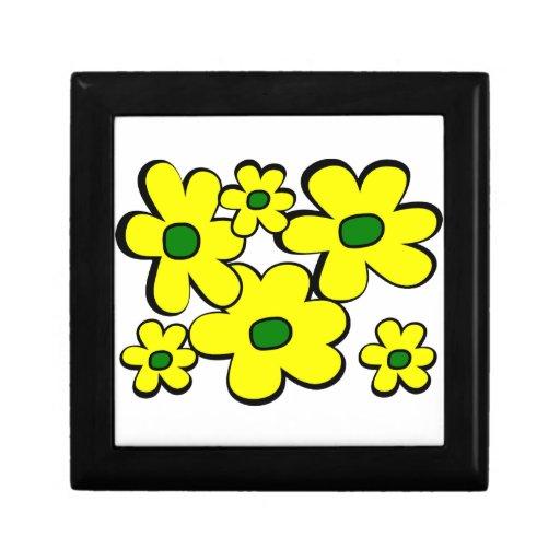 Margaritas grandes y pequeñas--Amarillo y verde Cajas De Joyas